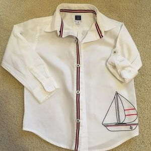 Janie and Jack sailboat dress shirt roll sleeve 3